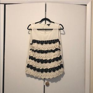 Ann Taylor Black and White Layered Lace Top